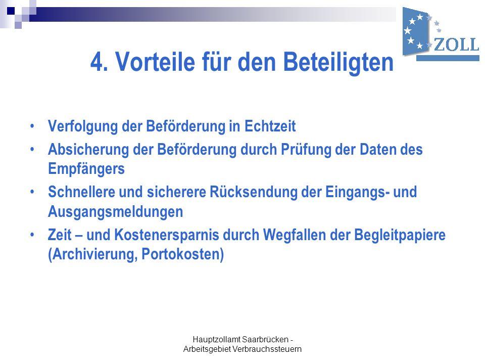Hauptzollamt Saarbrücken - Arbeitsgebiet Verbrauchssteuern 4. Vorteile für den Beteiligten Verfolgung der Beförderung in Echtzeit Absicherung der Befö
