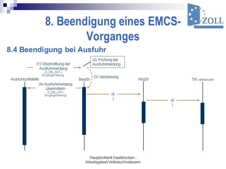Hauptzollamt Saarbrücken - Arbeitsgebiet Verbrauchssteuern 8. Beendigung eines EMCS- Vorganges (1) Übermittlung der Ausfuhrmeldung (C_DEL_DAT – Eingan