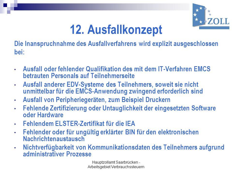Hauptzollamt Saarbrücken - Arbeitsgebiet Verbrauchssteuern 12. Ausfallkonzept Die Inanspruchnahme des Ausfallverfahrens wird explizit ausgeschlossen b