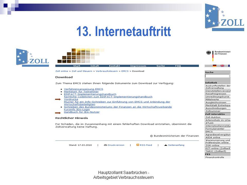 Hauptzollamt Saarbrücken - Arbeitsgebiet Verbrauchssteuern 13. Internetauftritt