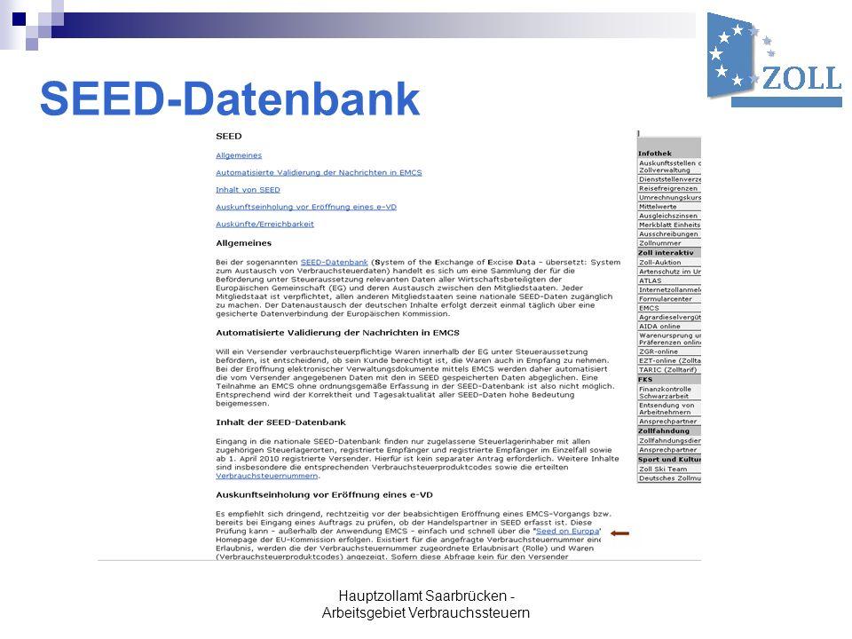 Hauptzollamt Saarbrücken - Arbeitsgebiet Verbrauchssteuern SEED-Datenbank