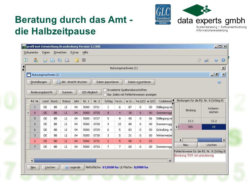 data experts gmbh Systemberatung Softwareentwicklung Informationsverarbeitung Beratung durch das Amt - die Halbzeitpause Mit profil inet den AS berate