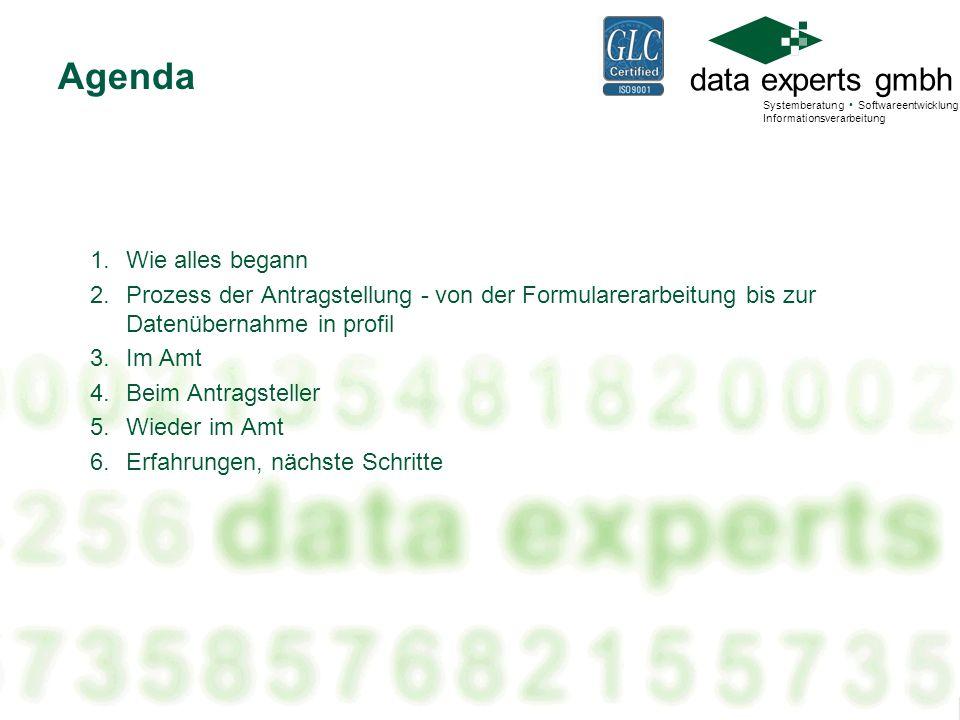data experts gmbh Systemberatung Softwareentwicklung Informationsverarbeitung 1.Wie alles begann 2.Prozess der Antragstellung - von der Formularerarbe