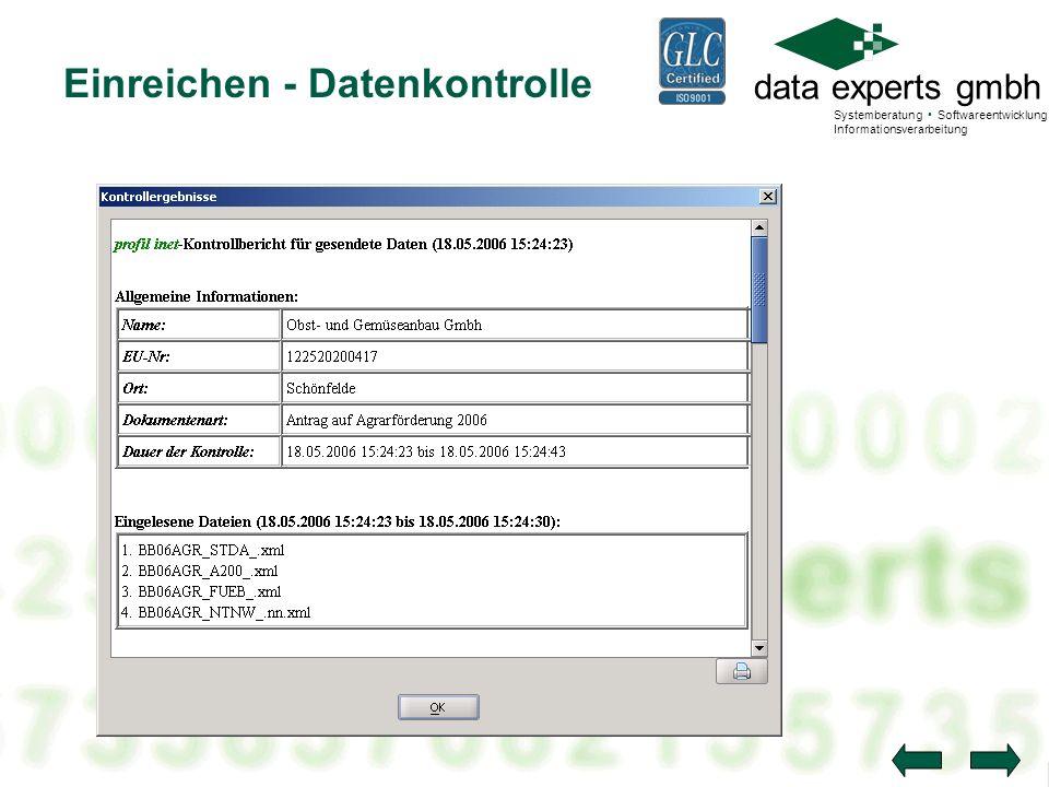 data experts gmbh Systemberatung Softwareentwicklung Informationsverarbeitung Einreichen - Datenkontrolle