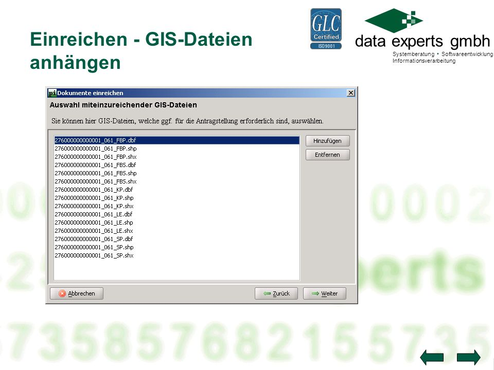 data experts gmbh Systemberatung Softwareentwicklung Informationsverarbeitung Einreichen - GIS-Dateien anhängen