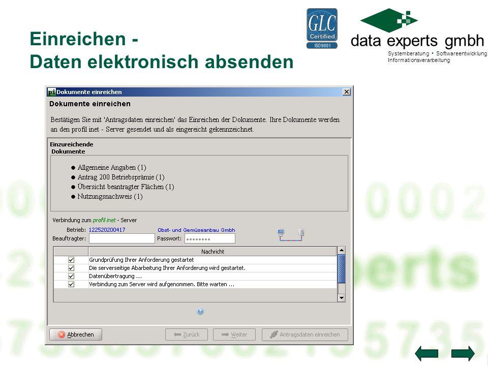 data experts gmbh Systemberatung Softwareentwicklung Informationsverarbeitung Einreichen - Daten elektronisch absenden