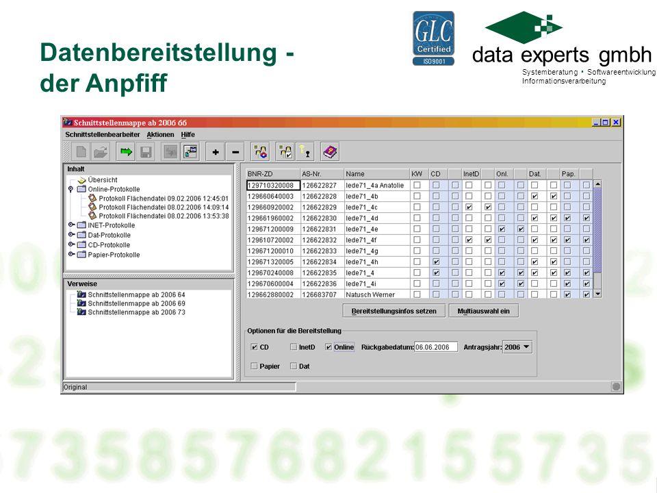 data experts gmbh Systemberatung Softwareentwicklung Informationsverarbeitung Datenbereitstellung - der Anpfiff