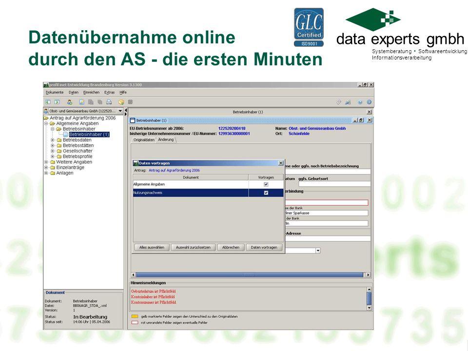data experts gmbh Systemberatung Softwareentwicklung Informationsverarbeitung Datenübernahme online durch den AS - die ersten Minuten