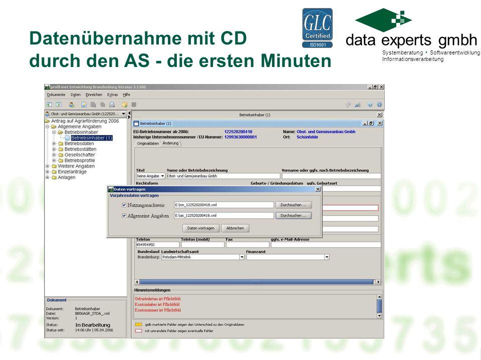 data experts gmbh Systemberatung Softwareentwicklung Informationsverarbeitung Datenübernahme mit CD durch den AS - die ersten Minuten
