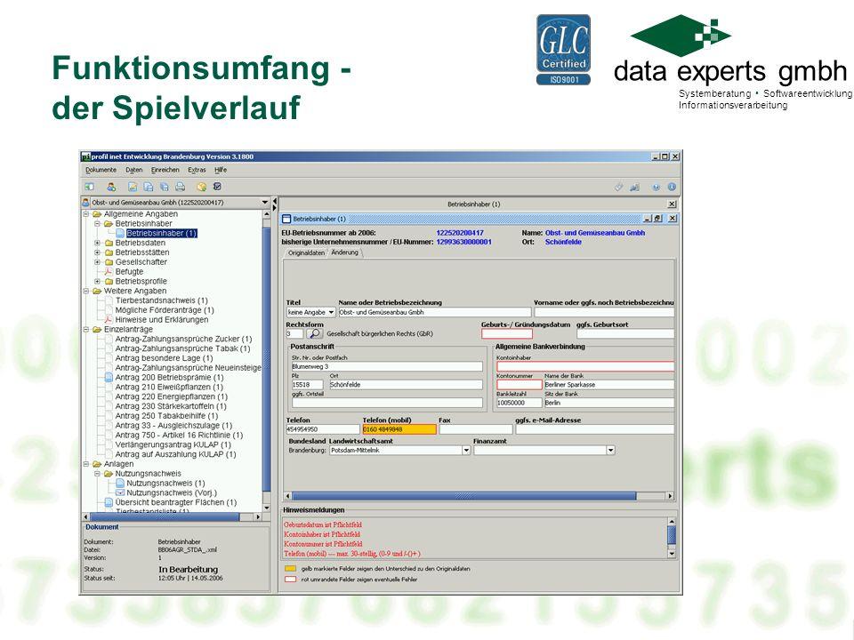 data experts gmbh Systemberatung Softwareentwicklung Informationsverarbeitung Funktionsumfang - der Spielverlauf