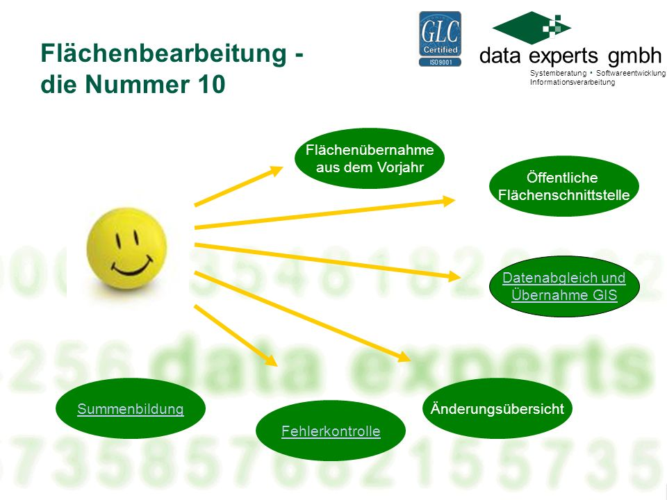 data experts gmbh Systemberatung Softwareentwicklung Informationsverarbeitung Flächenbearbeitung - die Nummer 10 Öffentliche Flächenschnittstelle Summ