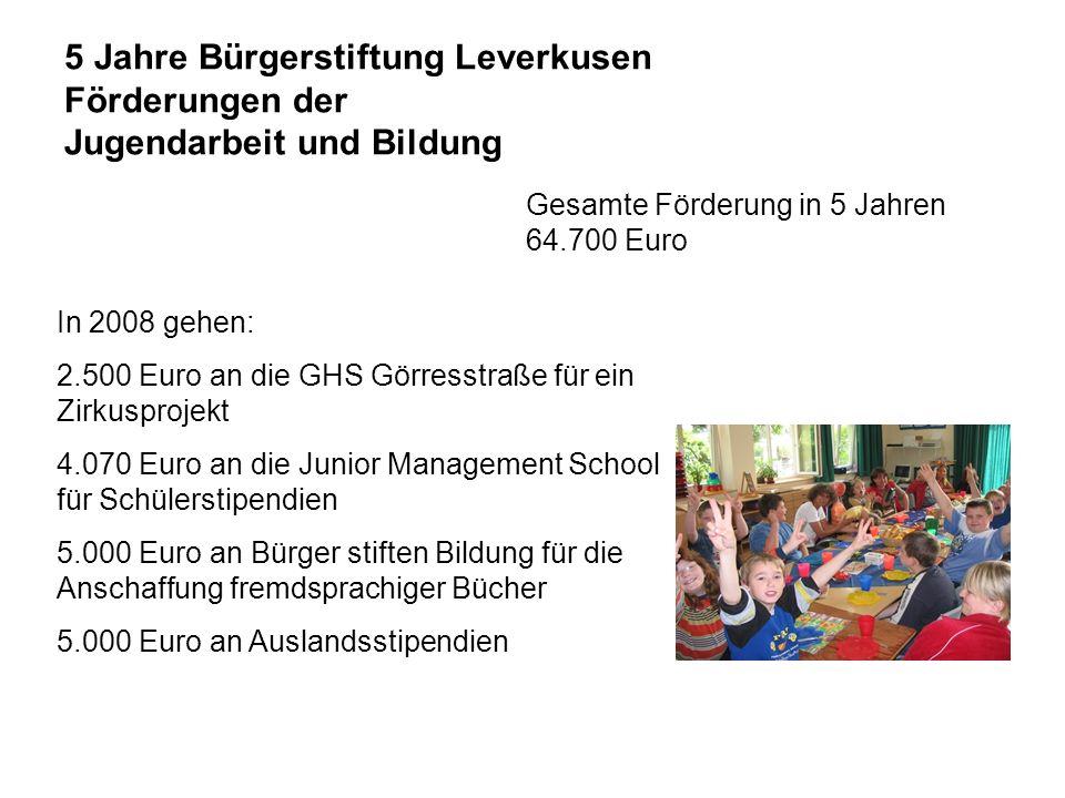 5 Jahre Bürgerstiftung Leverkusen Schülerstipendien 2004 - 2008 Förderzeitraum: 1 Jahr 14 Schüler Stipendien zwischen 1.500 bis 3.000 Euro Gesamtförderung: 31.000 Euro Länder: Lettland, Brasilien, Chile, USA, Dänemark, Dom.