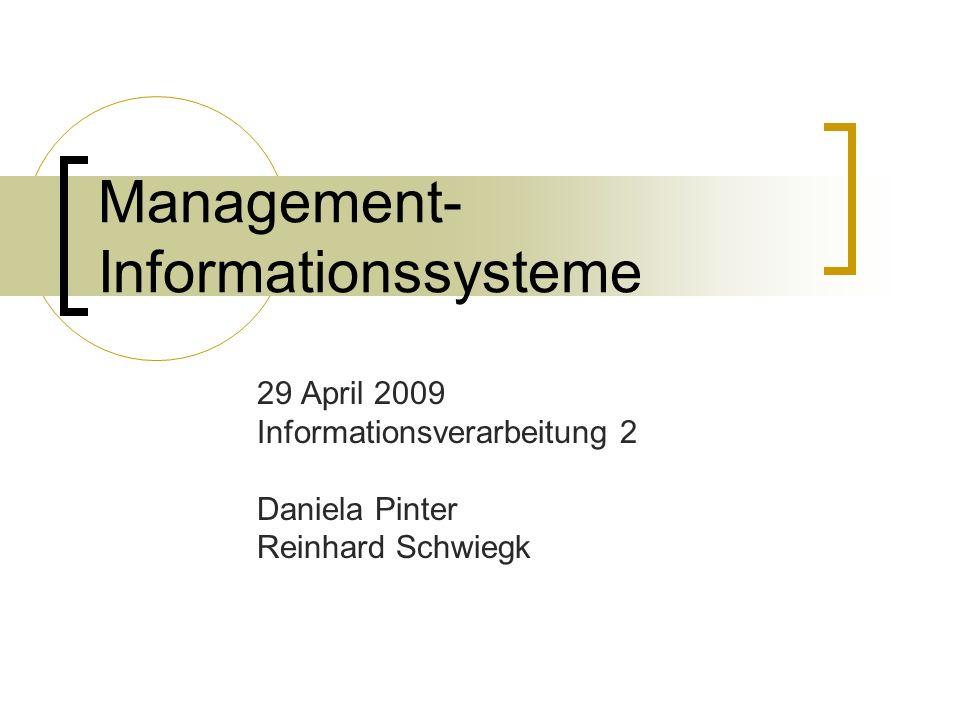 Management- Informationssysteme 29 April 2009 Informationsverarbeitung 2 Daniela Pinter Reinhard Schwiegk