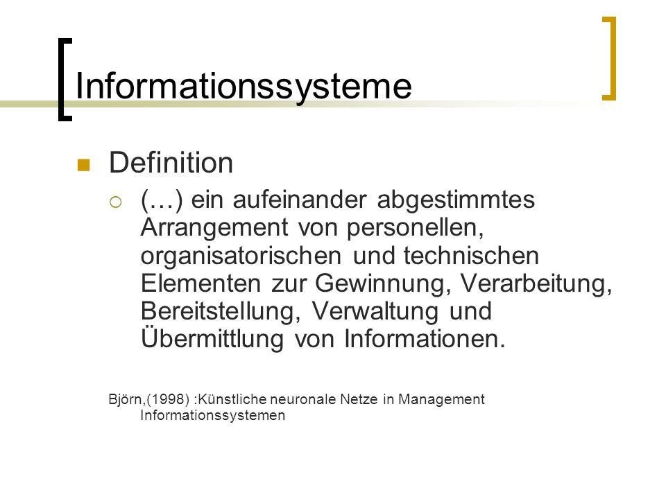 Informationssysteme Definition (…) ein aufeinander abgestimmtes Arrangement von personellen, organisatorischen und technischen Elementen zur Gewinnung