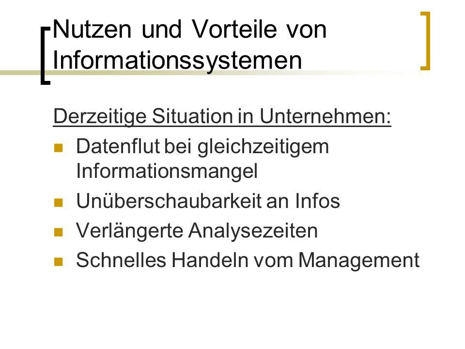 Nutzen und Vorteile von Informationssystemen Derzeitige Situation in Unternehmen: Datenflut bei gleichzeitigem Informationsmangel Unüberschaubarkeit a