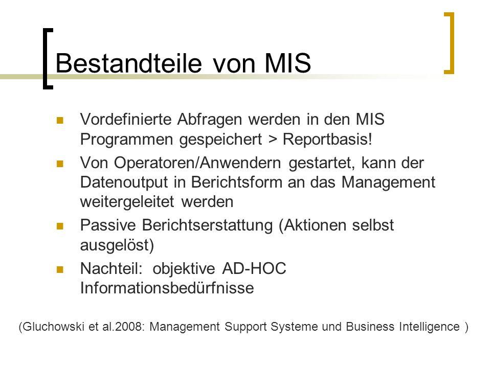 Bestandteile von MIS Vordefinierte Abfragen werden in den MIS Programmen gespeichert > Reportbasis! Von Operatoren/Anwendern gestartet, kann der Daten