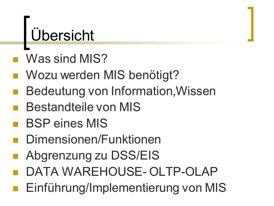 Übersicht Was sind MIS? Wozu werden MIS benötigt? Bedeutung von Information,Wissen Bestandteile von MIS BSP eines MIS Dimensionen/Funktionen Abgrenzun