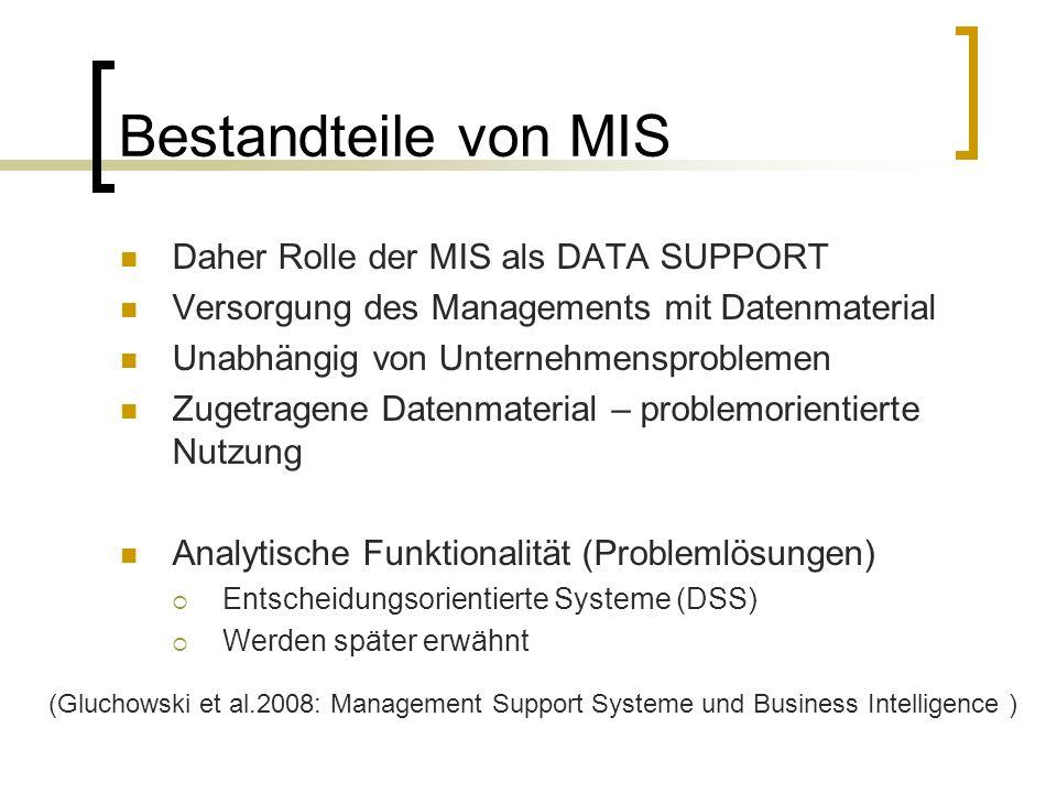 Bestandteile von MIS Daher Rolle der MIS als DATA SUPPORT Versorgung des Managements mit Datenmaterial Unabhängig von Unternehmensproblemen Zugetragen