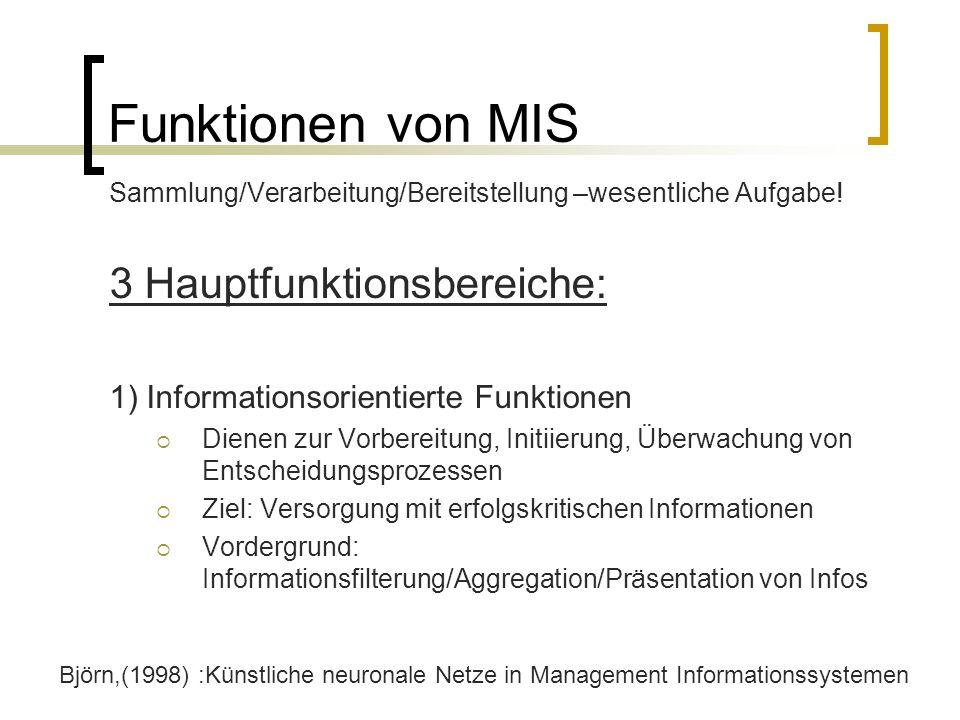 Funktionen von MIS Sammlung/Verarbeitung/Bereitstellung –wesentliche Aufgabe! 3 Hauptfunktionsbereiche: 1) Informationsorientierte Funktionen Dienen z