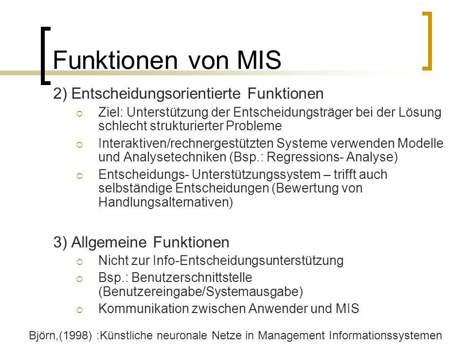 Funktionen von MIS 2) Entscheidungsorientierte Funktionen Ziel: Unterstützung der Entscheidungsträger bei der Lösung schlecht strukturierter Probleme
