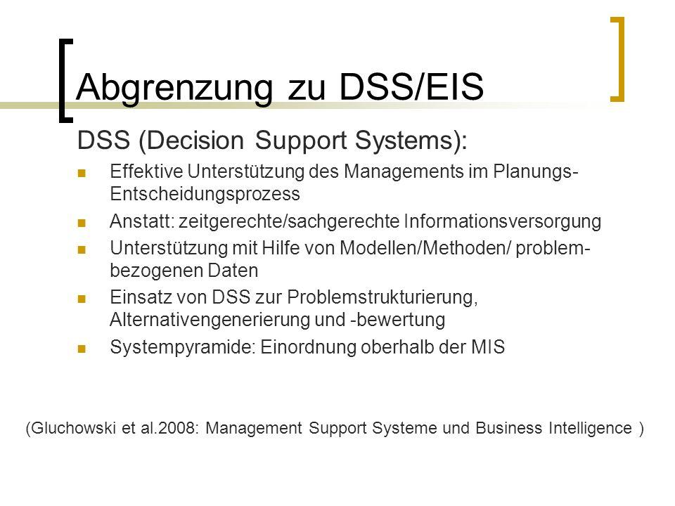 Abgrenzung zu DSS/EIS DSS (Decision Support Systems): Effektive Unterstützung des Managements im Planungs- Entscheidungsprozess Anstatt: zeitgerechte/