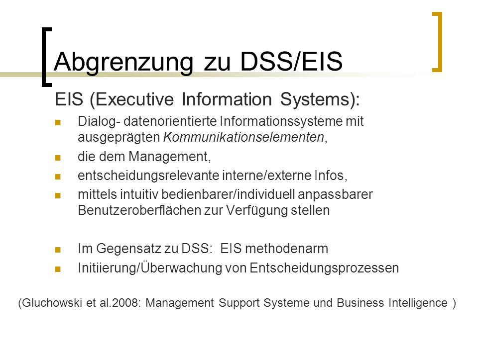 Abgrenzung zu DSS/EIS EIS (Executive Information Systems): Dialog- datenorientierte Informationssysteme mit ausgeprägten Kommunikationselementen, die