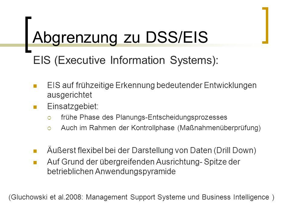 Abgrenzung zu DSS/EIS EIS (Executive Information Systems): EIS auf frühzeitige Erkennung bedeutender Entwicklungen ausgerichtet Einsatzgebiet: frühe P