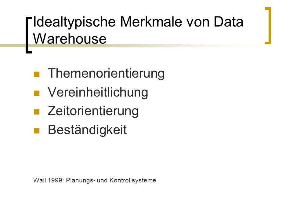 Idealtypische Merkmale von Data Warehouse Themenorientierung Vereinheitlichung Zeitorientierung Beständigkeit Wall 1999: Planungs- und Kontrollsysteme
