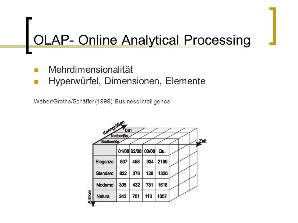 OLAP- Online Analytical Processing Mehrdimensionalität Hyperwürfel, Dimensionen, Elemente Weber/Grothe/Schäffer (1999): Business Intelligence