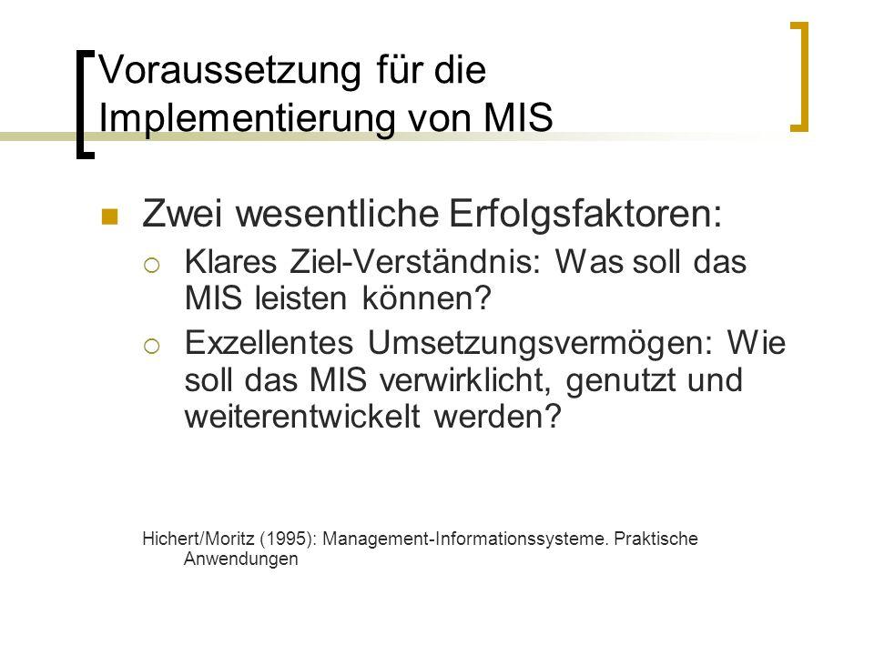 Voraussetzung für die Implementierung von MIS Zwei wesentliche Erfolgsfaktoren: Klares Ziel-Verständnis: Was soll das MIS leisten können? Exzellentes