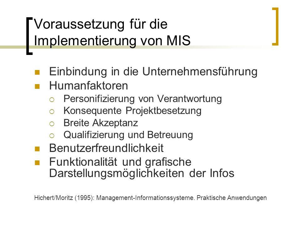 Voraussetzung für die Implementierung von MIS Einbindung in die Unternehmensführung Humanfaktoren Personifizierung von Verantwortung Konsequente Proje