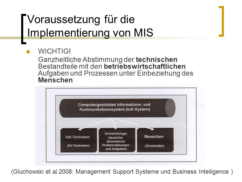 Voraussetzung für die Implementierung von MIS WICHTIG! Ganzheitliche Abstimmung der technischen Bestandteile mit den betriebswirtschaftlichen Aufgaben