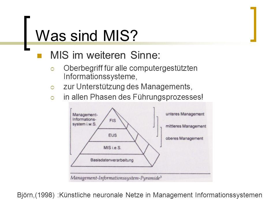 Was sind MIS? MIS im weiteren Sinne: Oberbegriff für alle computergestützten Informationssysteme, zur Unterstützung des Managements, in allen Phasen d