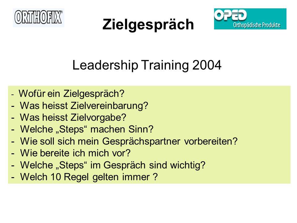 Zielgespräch Leadership Training 2004 - Wofür ein Zielgespräch? - Was heisst Zielvereinbarung? - Was heisst Zielvorgabe? - Welche Steps machen Sinn? -
