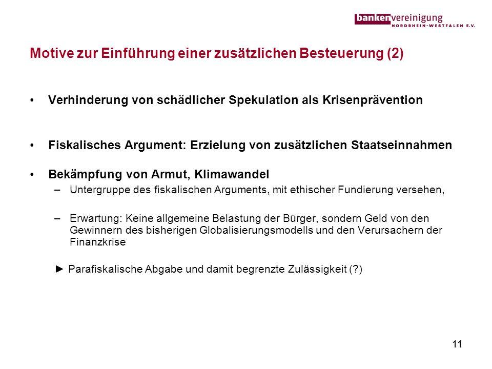 11 Motive zur Einführung einer zusätzlichen Besteuerung (2) Verhinderung von schädlicher Spekulation als Krisenprävention Fiskalisches Argument: Erzie