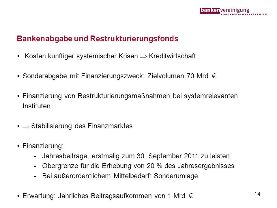 Bankenabgabe und Restrukturierungsfonds 14 Kosten künftiger systemischer Krisen Kreditwirtschaft. Sonderabgabe mit Finanzierungszweck: Zielvolumen 70