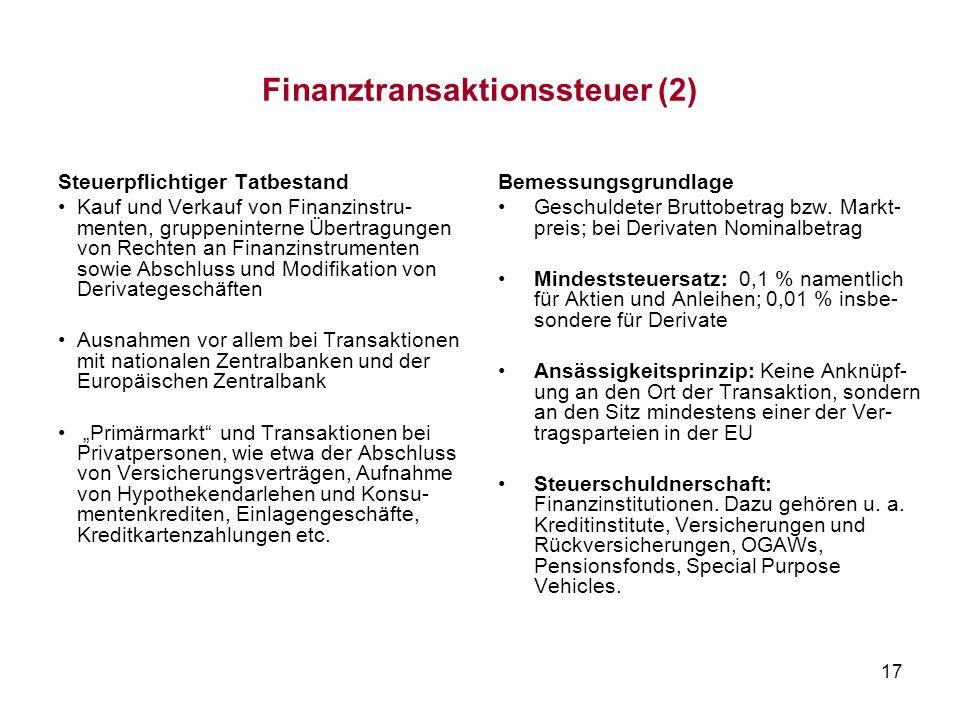 17 Finanztransaktionssteuer (2) Steuerpflichtiger Tatbestand Kauf und Verkauf von Finanzinstru- menten, gruppeninterne Übertragungen von Rechten an Fi