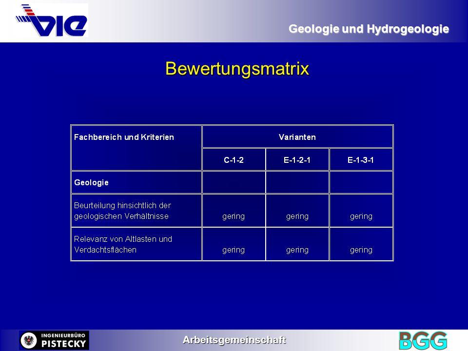 Geologie und Hydrogeologie Arbeitsgemeinschaft Bewertungsmatrix