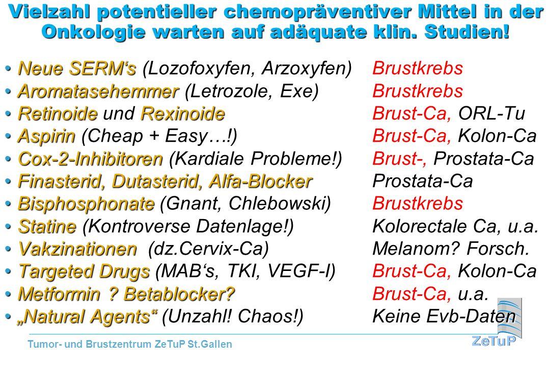 Tumor- und Brustzentrum ZeTuP St.Gallen Vielzahl potentieller chemopräventiver Mittel in der Onkologie warten auf adäquate klin. Studien! Neue SERMs (