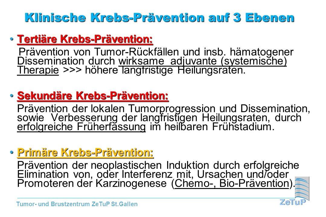 Tumor- und Brustzentrum ZeTuP St.Gallen Uebersicht der Brustkrebs-Chemopräventions- Studien: Stand Juni 2012 NSABP P-1, MORE, STAR, IBIS-I und EXE Studien: Alle demonstrierten die Effektivität von SERMs (TAM und RAL) sowie von AI (EXE) bez.