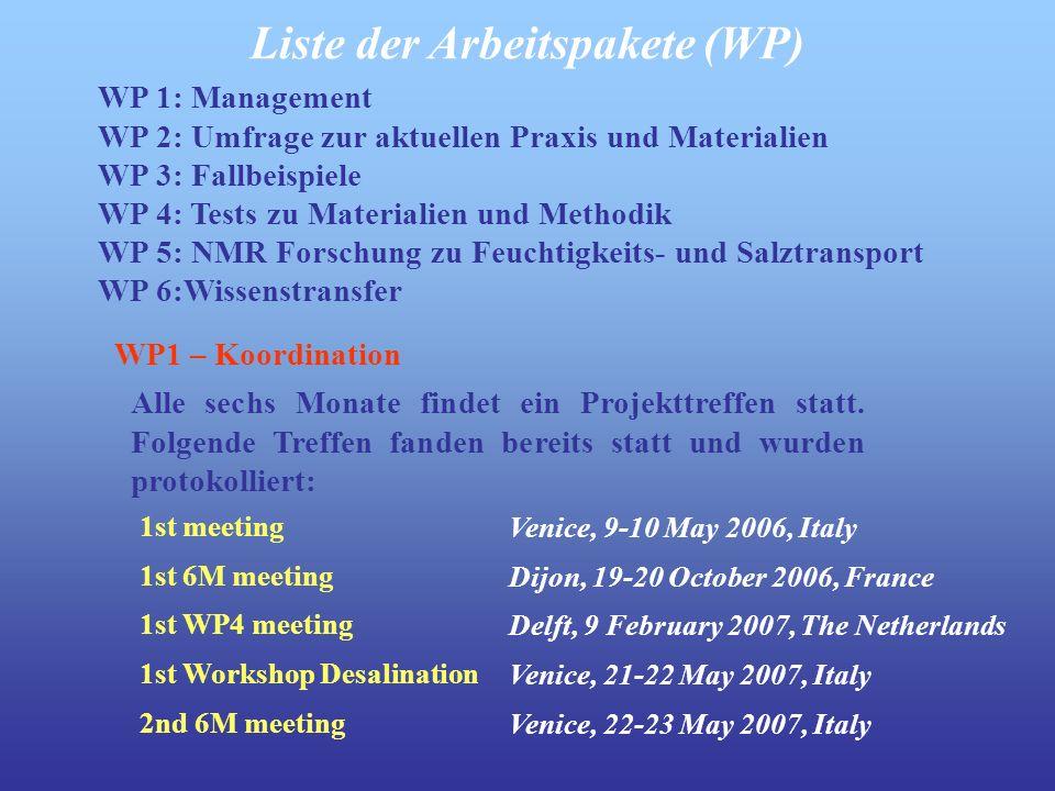 WP 1: Management WP 2: Umfrage zur aktuellen Praxis und Materialien WP 3: Fallbeispiele WP 4: Tests zu Materialien und Methodik WP 5: NMR Forschung zu Feuchtigkeits- und Salztransport WP 6:Wissenstransfer Liste der Arbeitspakete (WP) Alle sechs Monate findet ein Projekttreffen statt.