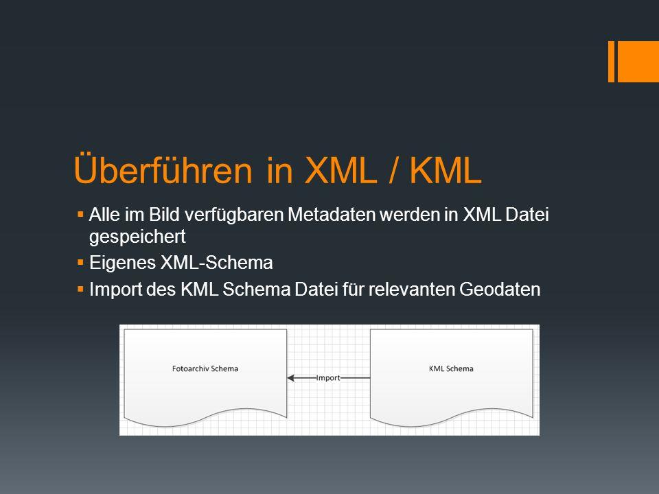 Überführen in XML / KML Alle im Bild verfügbaren Metadaten werden in XML Datei gespeichert Eigenes XML-Schema Import des KML Schema Datei für relevant