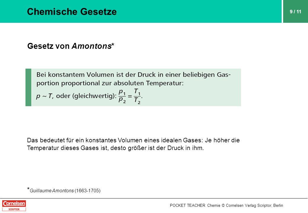 POCKET TEACHER Chemie © Cornelsen Verlag Scriptor, Berlin 9 / 11 Chemische Gesetze Gesetz von Amontons* Das bedeutet für ein konstantes Volumen eines