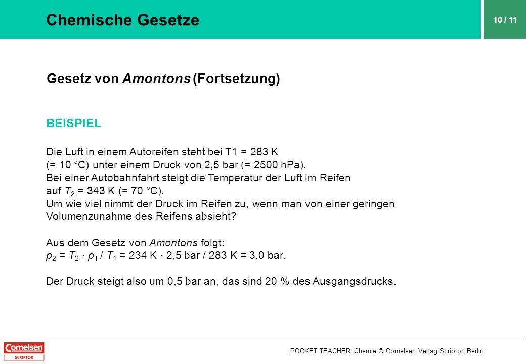 POCKET TEACHER Chemie © Cornelsen Verlag Scriptor, Berlin 10 / 11 Chemische Gesetze Gesetz von Amontons (Fortsetzung) BEISPIEL Die Luft in einem Autor