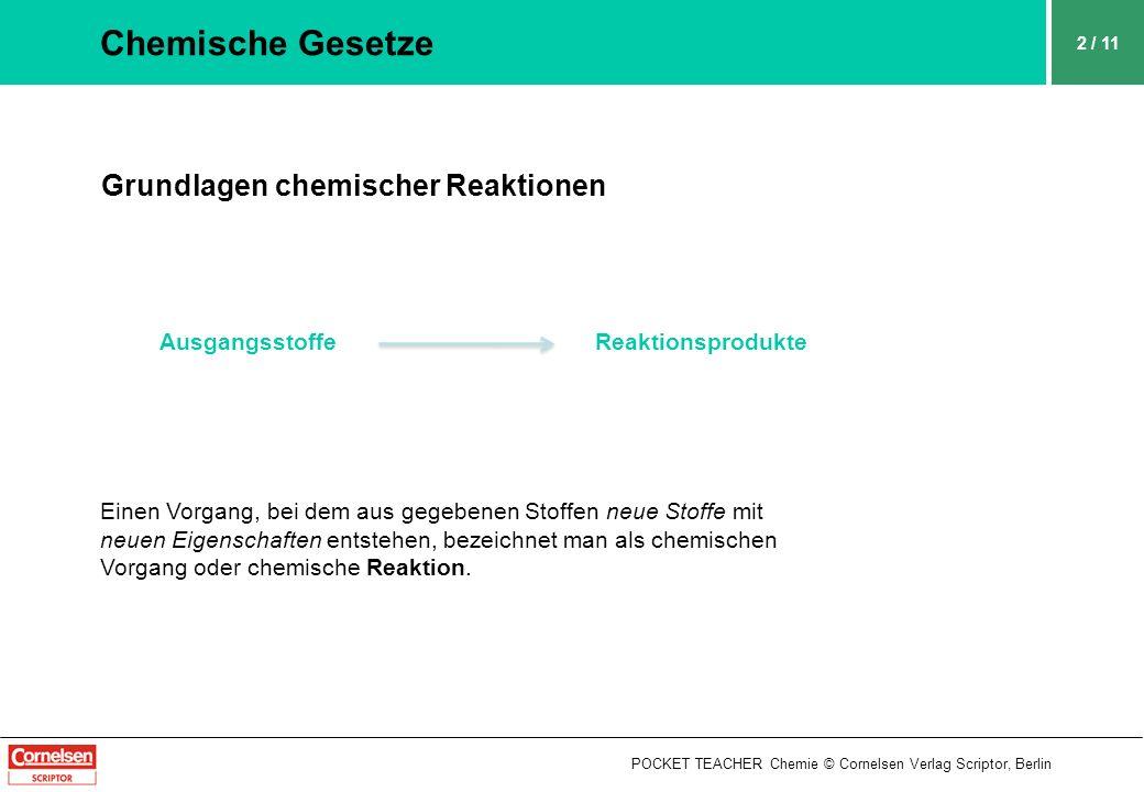 POCKET TEACHER Chemie © Cornelsen Verlag Scriptor, Berlin 2 / 11 Chemische Gesetze Grundlagen chemischer Reaktionen Ausgangsstoffe Reaktionsprodukte E