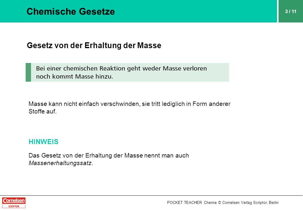 POCKET TEACHER Chemie © Cornelsen Verlag Scriptor, Berlin 3 / 11 Chemische Gesetze Gesetz von der Erhaltung der Masse Masse kann nicht einfach verschw