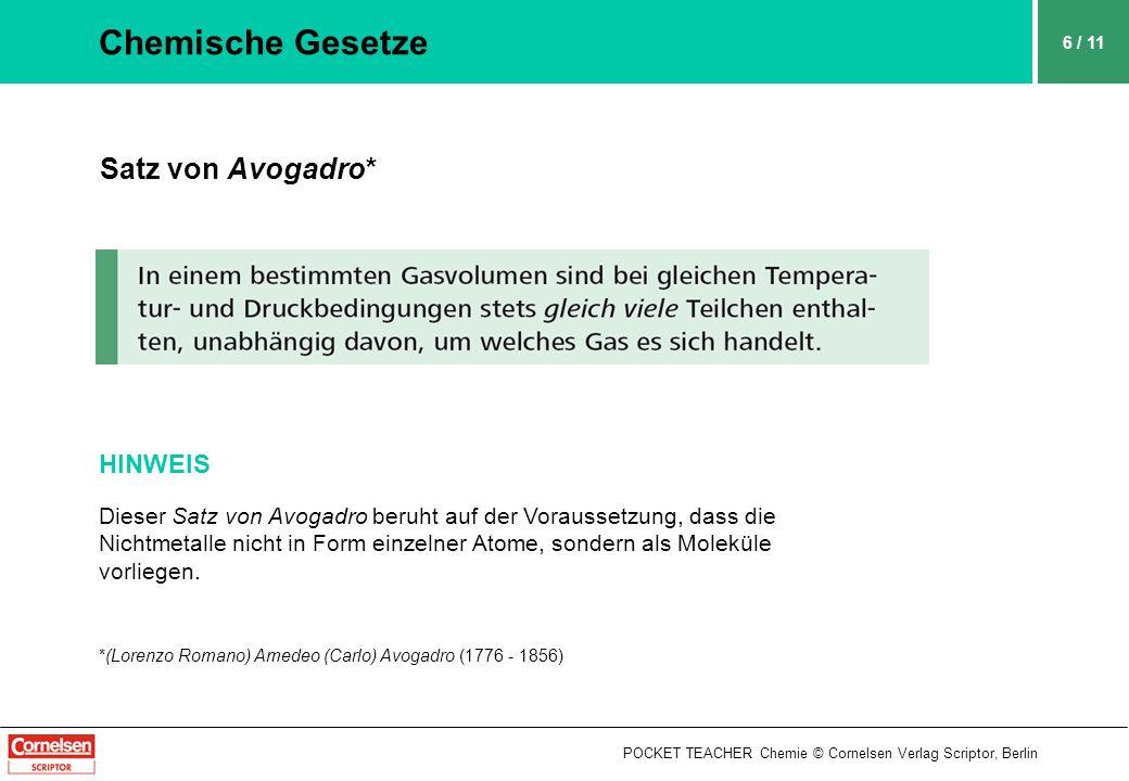 POCKET TEACHER Chemie © Cornelsen Verlag Scriptor, Berlin 6 / 11 Chemische Gesetze Satz von Avogadro* HINWEIS Dieser Satz von Avogadro beruht auf der