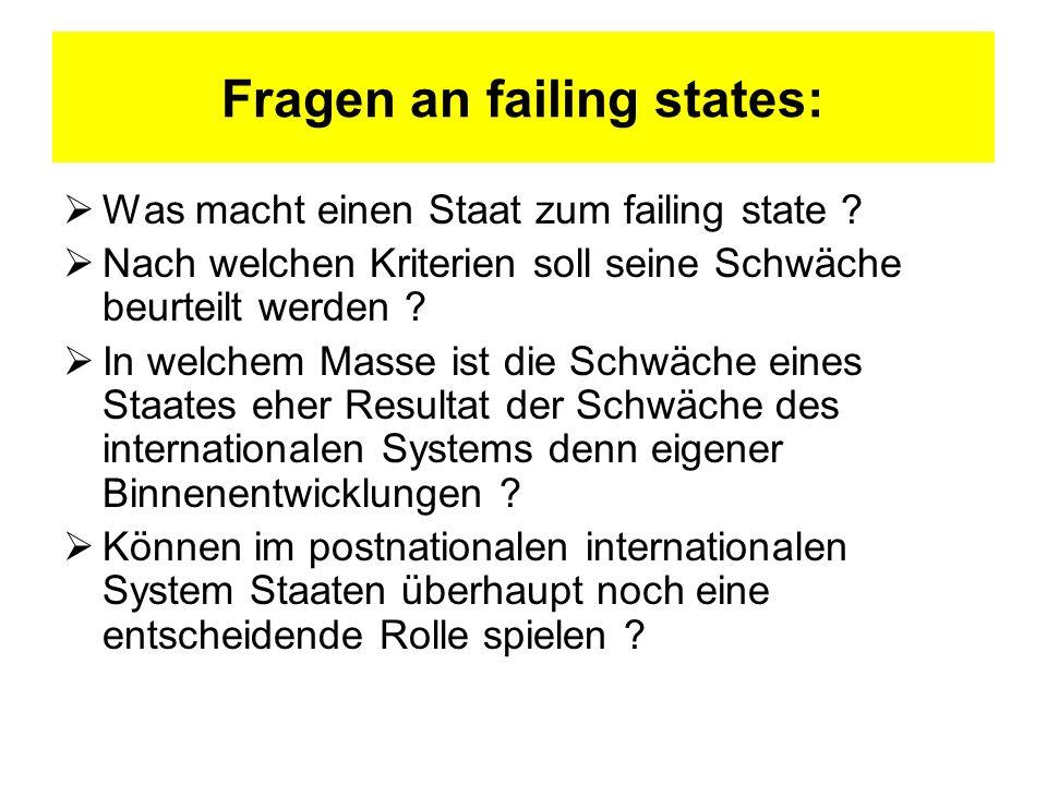 Fragen an failing states: Was macht einen Staat zum failing state ? Nach welchen Kriterien soll seine Schwäche beurteilt werden ? In welchem Masse ist