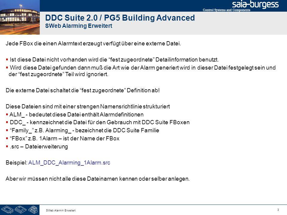 3 SWeb Alarmin Erweitert DDC Suite 2.0 / PG5 Building Advanced SWeb Alarming Erweitert Jede FBox die einen Alarmtext erzeugt verfügt über eine externe Datei.