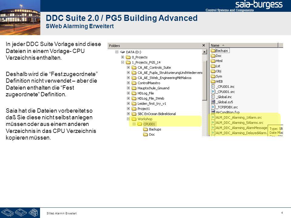 4 SWeb Alarmin Erweitert DDC Suite 2.0 / PG5 Building Advanced SWeb Alarming Erweitert In jeder DDC Suite Vorlage sind diese Dateien in einem Vorlage- CPU Verzeichnis enthalten.
